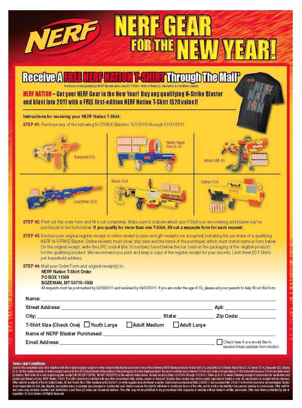 Nerf T-Shirt Offer